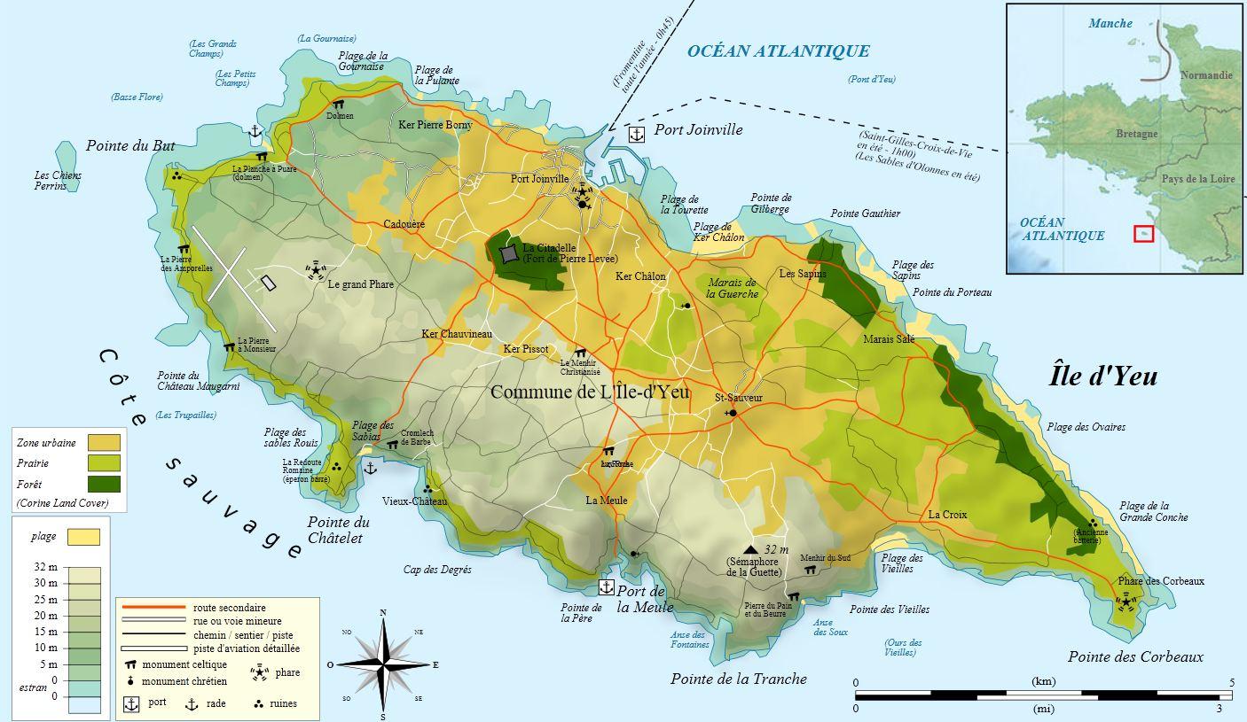 Carte de l'ile d'Yeu